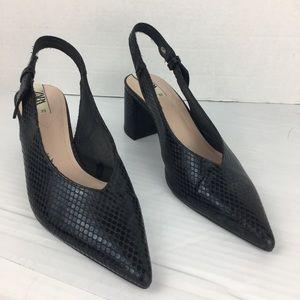 Zara black animal print embossed sling back block heel 9